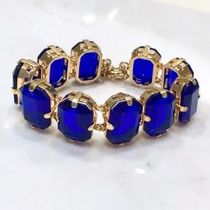 J. CREW Royal Blue Gemstone & Gold Clasp Bracelet